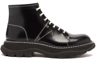 Alexander McQueen Exaggerated Sole Leather Boots - Womens - Black White