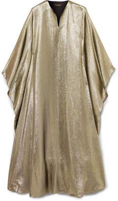 Reem Acra Draped Lame Midi Dress - Metallic