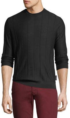 Emporio Armani Men's Crewneck Long-Sleeve Vertical Tonal-Stitch Wool Sweater