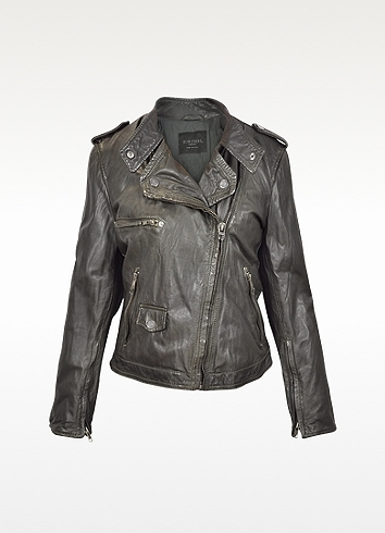 Forzieri Dark Brown Asymetrical Zip Leather Motorcycle Jacket