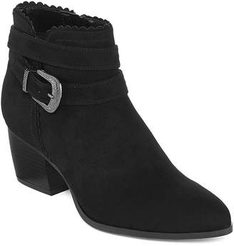 ST. JOHN'S BAY Womens Chad Bootie Block Heel Zip