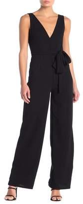Blvd V-Neck Sleeveless Waist Belt Wide Leg Jumpsuit