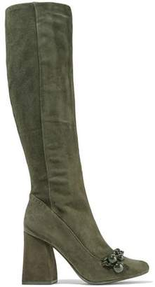 Tory Burch Addison Chain-Embellished Suede Knee Boots