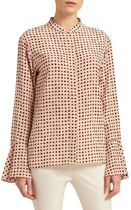 Donna Karan Women's Polka Dot Bell Sleeve Blouse