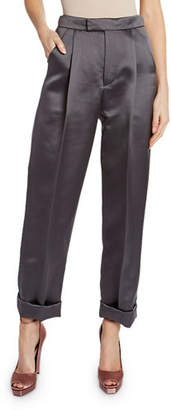 Tom Ford Silk Duchesse Front Pleated Crop Pants
