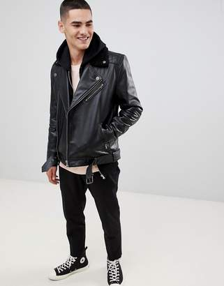 Asos DESIGN leather biker jacket in black