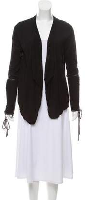 Givenchy Leather-Trimmed Wool Cardigan Black Leather-Trimmed Wool Cardigan