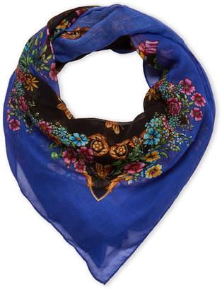 Versace Black & Blue Floral Printed Shawl