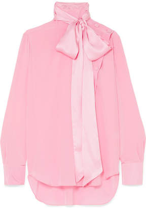ae26f71af2504d ADAM by Adam Lippes Asymmetric Pussy-bow Silk-crepe Blouse - Pink