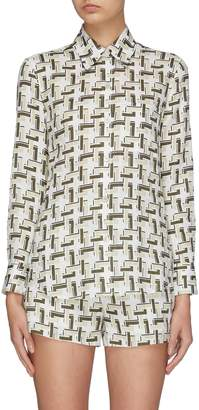Equipment 'Slim Bradner' geometric print linen shirt