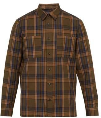A.P.C. Achille Checked Cotton Blend Oxford Shirt - Mens - Khaki