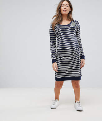 Mama Licious Mama.licious Mamalicious Striped Dress With Bird Embroidery