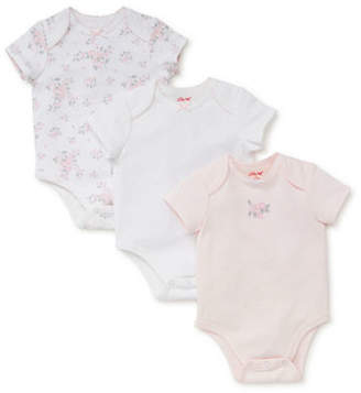 Little Me Baby Girl's Set of Three Dainty Cotton Bodysuits