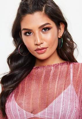 Missguided Festival Metallic Rainbow Hoop Earrings
