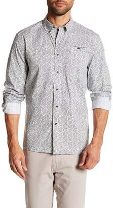 Kenneth Cole New York White Noise Print Long Sleeve Regular Fit Shirt