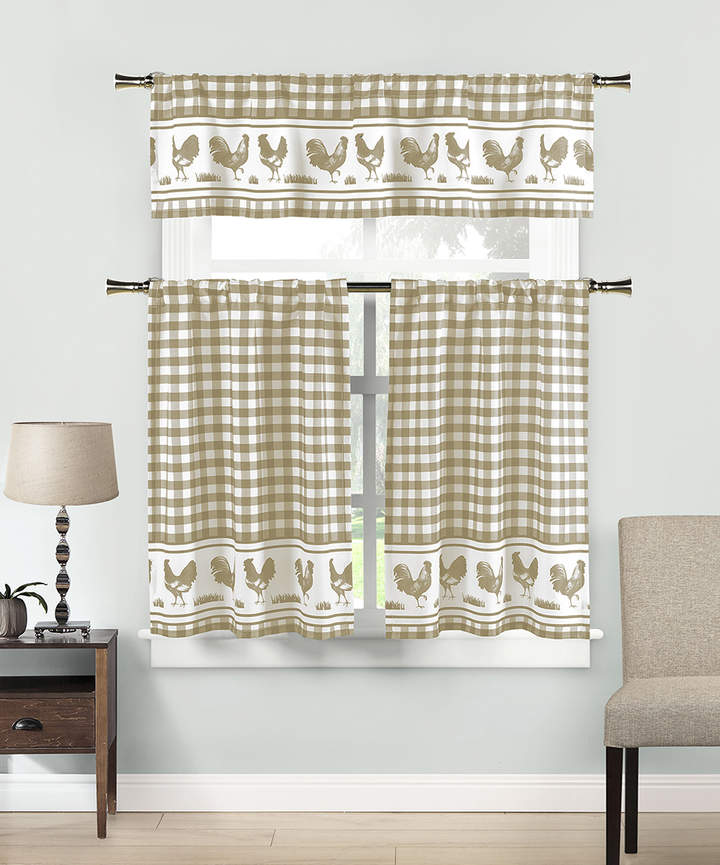 Taupe & White Helen Three-Piece Curtain Panel Set