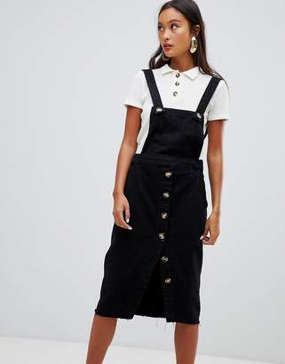 Bershka overall dress with button details in black