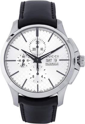 Gucci YA126265 Silver-Tone & Black Automatic Chronograph G-Timeless Watch