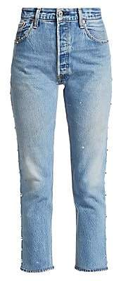 RE/DONE Women's High-Rise Ankle Crop Skinny Studded Jeans