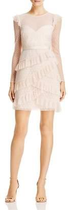 BCBGMAXAZRIA Ruffled Point D'Esprit Dress