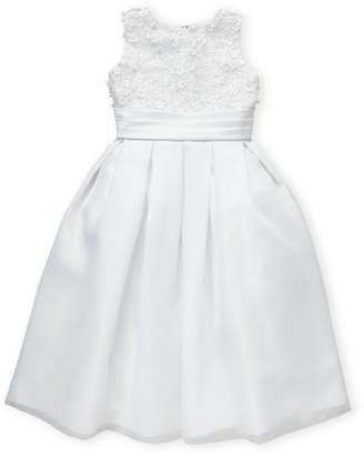 Joan Calabrese For Mon Cheri (Girls 7-16) White Sequin Lace Bodice A-Line Dress