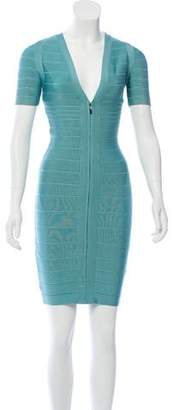 Herve Leger Short Sleeve Bandage Dress