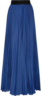 Diane von Furstenberg Pleated Silk-satin Maxi Skirt - Royal blue
