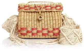 Nannacay Roge Small Macrame-Strap Straw Shoulder Bag