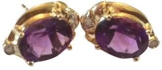 10K Yellow Gold Amethyst & Diamond Earrings