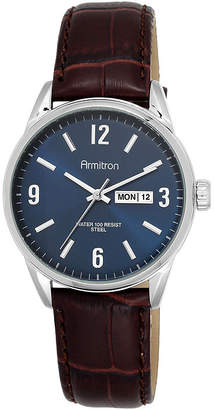 JCPenney Armitron All-Sport Mens Blue Dial Brown Leather Strap Watch