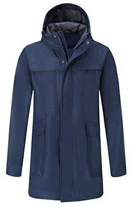 Bellivera Men's Casual Jacket Waterproof Breathable Hooded Lightweight Rain Jacket for Any Outdoor Activities