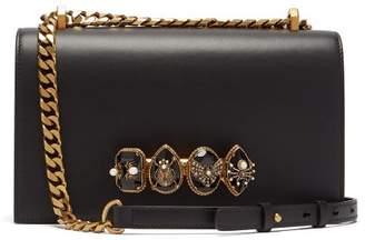 Alexander McQueen Jewelled Leather Shoulder Bag - Womens - Black