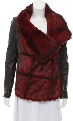 Helmut Lang Fur-Trimmed Leather Coat