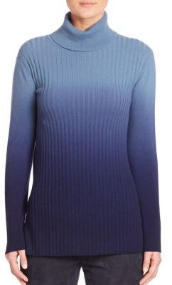 Lafayette 148 New York Cashmere Ombre Rib-Knit Turtleneck Sweater $498 thestylecure.com