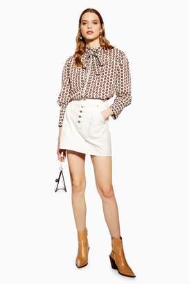 Topshop Womens Button Utility Denim Skirt - Cream