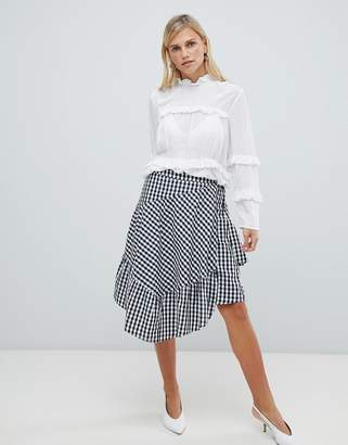 Vila gingham ruffle skirt