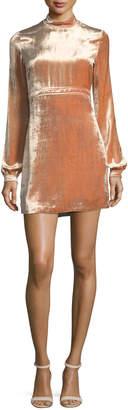 A.L.C. Gemma Mock-Neck Long-Sleeve Velvet Cocktail Dress