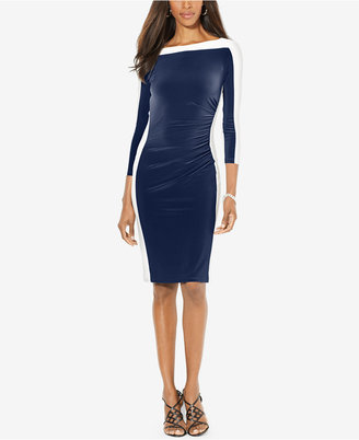 Lauren Ralph Lauren Colorblocked Long-Sleeve Sheath Dress $109 thestylecure.com