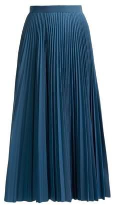 Maison Margiela Reflective Pleated Crepe Midi Skirt - Womens - Blue