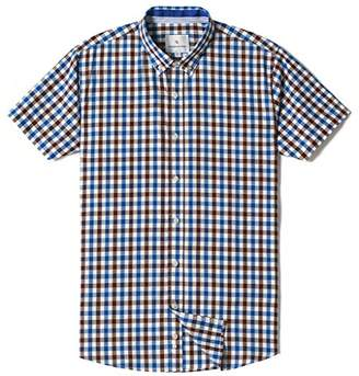Chain Stitch Mens Short Sleeve Check Button-Down Collar Casual Plaid Shirt