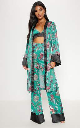 PrettyLittleThing Blue Satin Oriental Kimono