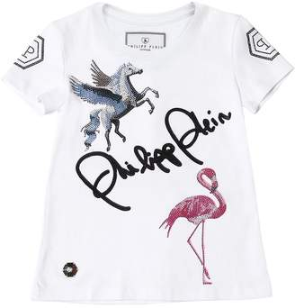 Philipp Plein Junior Embellished Logo Cotton Jersey T-Shirt