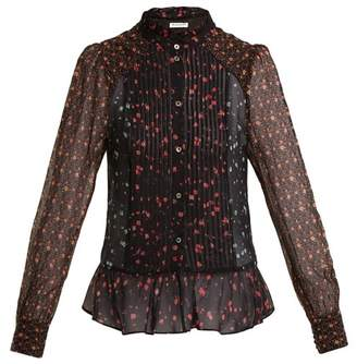 Masscob High-neck floral-print silk blouse