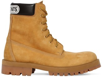 Vetements TRUCKER LEATHER BOOTS W/ LOGO PATCH