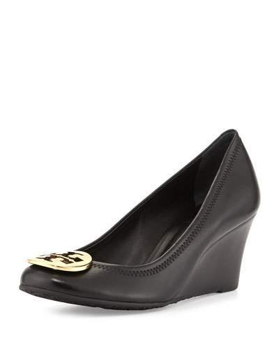 Tory Burch Sally Logo Wedge Pump, Black/Gold