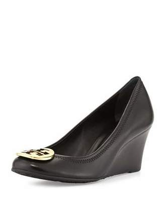 Tory Burch Sally Logo Wedge Pump, Black/Gold $265 thestylecure.com