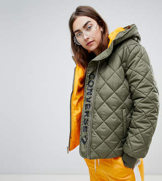 Converse Quilted Puffer Jacket In Khaki