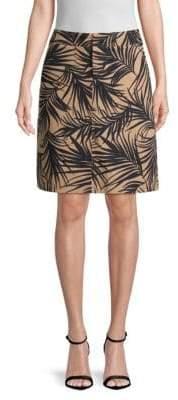 BOSS Vasara Palm Leaf-Print A-Line Skirt
