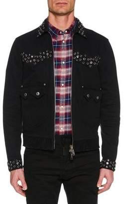DSQUARED2 Men's Studded Zip-Front Jean Jacket