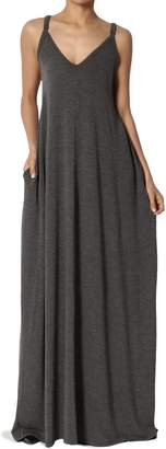 TheMogan Women's V-Neck Draped Jersey Cami Long Maxi Dress with Pocket Charcoal M